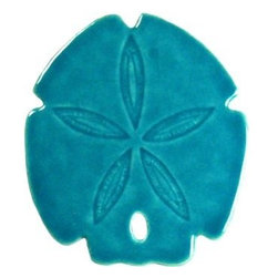 Glass Tile Oasis - Sand Dollar Aqua Pool Accents Aqua Pool Glossy Ceramic - Sink into a beach-like ambience in your bathroom with these tropical ceramic accent tiles. No need to scour the shores for these sand dollars — they're all set to make a coastal addition to your home.