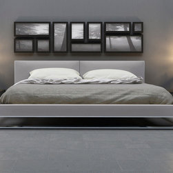 Chelesa Bed - Chelesa Bed in Dark Slate, White, and Light Grey Leather.