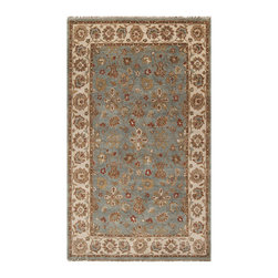 Surya - Surya Estate EST-10565 (Green, Beige) 8' x 11' Rug - Elegantly designed rugs to adorn the most beautiful of homes. The hand spun wool, with a hard twist give a casual yet sophisticated look to these classically designed rugs. The herbal washing of the wool gives the colors an antiqued effect. Hand knotted of 100% New Zealand Wool, these heirloom quality rugs will be admired for years.