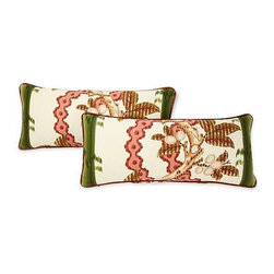 Green Brunschwig & Fils Lumbar Pillows, pair - Pair of Brunschwig and Fils Josselin cotton and linen print in Cypress with leather trim on two sides.