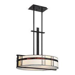 """Quoizel - Arts and Crafts - Mission Quoizel Luxe 4-Light 22""""W Black Pendant Light - This stylish round four-light pendant from Quoizel's Luxe collection has a bit of Mission style mixed with a bit of modern edge for a great feel. Over 50 panes of glass give this piece a warm luminous effect. Sleek mystic black finish and rectilinear frame keep it modern. Wonderful piece for a kitchen dining area hallway or other space in your home. Mystic black finish. From the Luxe collection. 54 glass panes. Steel construction. Takes four maximum 100 watt or equivalent medium base bulb (not included). 22"""" wide. 20 1/2"""" high. Hang weight 15 lbs.  Mystic black finish.  From the Luxe collection.  54 glass panes.  Steel construction.  Takes four maximum 100 watt or equivalent medium base bulb (not included).  22"""" wide.  20 1/2"""" high.  Hang weight 15 lbs."""