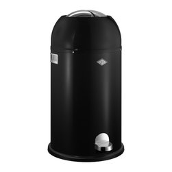 Wesco - Wesco Kickmaster Waste Can, Black - Let's talk trash: This superior receptacle, made in Germany of powder-coated sheet steel, boasts a sturdy foot-pedal mechanism to open the top flaps for slam-dunk, hygienic disposal. And its good looks — in your choice of colors — make for one classic can.