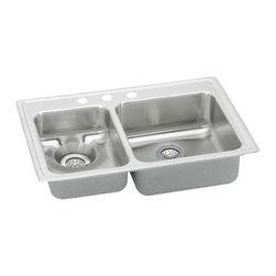 """Elkay - Elkay LWR3322L4  Lustertone Gourmet Dual-Bowl Waste-All Sink - Elkay's LWR3322L4 is a Lustertone Gourmet Dual-Bowl Waste-All Sink. This sink is constructed of 18-gauge type 304 nickel-bearing stainless steel, and is self-rimming. It has a large bowl depth of 7-5/8"""", a waste bowl depth of 6-1/8"""", and 3-1/2"""" drain openings."""