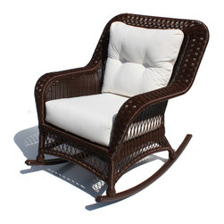 Wicker Paradise - Outdoor Wicker Rocker - Princeton Shown in Chocolate Brown - ALL WEATHER Wicker!  Maintenance free premium outdoor vinyl wicker. Framed on Aluminum   Wicker Available in Crisp White or Rich Chocolate Brown Color Choose from over 100 designer outdoor fabrics!