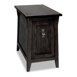 Leick Furniture - Favorite Finds Wood Mission Cabinet End Table - Slate finish. Solid Ash top and Oak veneers. Adjustable shelf behind door. Canted design with wedge corbels. Minimal assembly required. 24 in. W x 15 in. D x 24 in. H