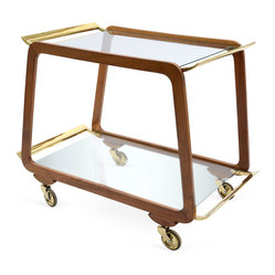 1950s Austrian Walnut Bar Cart