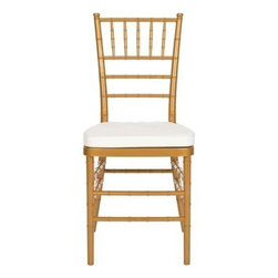 Safavieh - Carly Side Chair - Gold - Whether glamorizing a wedding, anniversary or an intimate dinner at home, the elegant Carly Side Chair dresses up your special occasion in style. A 21st century adaptation of the 200-year old Chiavari chair (named after Italian Riviera town of Chiavari where it was first designed), the classic bamboo-patterned frame is molded of sturdy but lightweight PC resin for indoor-outdoor use. Sold in sets of two, each with plush, detachable tie-on cushion and glistening gold frame, Carly is priced to own at less than youd pay for a one-time party rental.