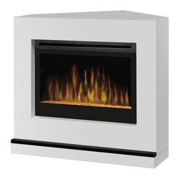 Dimplex Contemporary Convertible I Fireplace - The Dimplex Contemporary Convertible I Fireplace allows you to heat up your living space with the charm and flair of a real live fireplace without the actual fire. The fireplace from Dimplex features a 33-inch firebox, white surround and can be placed along a flat wall or used in a corner. The safe-to-touch glass remains cool whether heater is operating or not, and a child safety screen covers the heater vent.