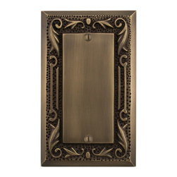 Floral Design Solid Brass Blank Plate - Add a touch of flair to your home with this floral pattern plate, while covering up unsightly or non-usable electrical wiring. This blank plate is made of solid brass.