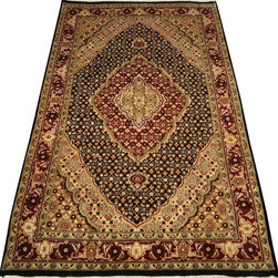 "ALRUG - Handmade Black Persian Tabriz Rug 3' 11"" x 6' 2"" (ft) - This Pakistani Tabriz design rug is hand-knotted with Wool on Cotton."