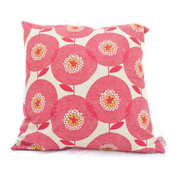 Cushion Cover, Flower Field, Rosy by Skinny laMinx - Skinny laMinx's flower field pillow is retro-modern pink bodacious-ness at its best. It also looks great paired with the same pattern in black.