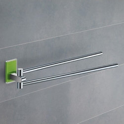 Gedy - 14 Inch Polished Chrome Swivel Towel Bar With Green Mounting - Contemporary double swivel towel holder with 2 adjustable arm. Made of chromed brass and thermoplastic resins. Mounting piece in green color. Double swivel towel holder made of chromed brass and thermoplastic resins. Mounting piece in green finish. From the Gedy Maine collection.