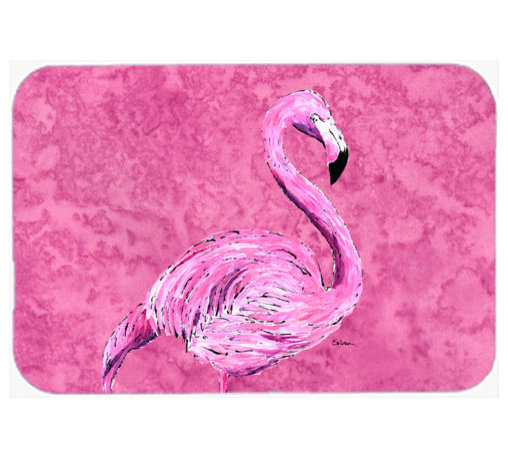 Caroline's Treasures - Flamingo On Pink Kitchen Or Bath Mat 24X36 - Kitchen or Bath COMFORT FLOOR MAT This mat is 24 inch by 36 inch. Comfort Mat / Carpet / Rug that is Made and Printed in the USA. A foam cushion is attached to the bottom of the mat for comfort when standing. The mat has been permenantly dyed for moderate traffic. Durable and fade resistant. The back of the mat is rubber backed to keep the mat from slipping on a smooth floor. Use pressure and water from garden hose or power washer to clean the mat. Vacuuming only with the hard wood floor setting, as to not pull up the knap of the felt. Avoid soap or cleaner that produces suds when cleaning. It will be difficult to get the suds out of the mat