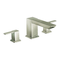 Moen - Moen TS903BN Two Handle High Arc Roman Tub Faucet - With its ultra-contemporary styling, the 90 Degree collection brings a sharp, clean look to the home.