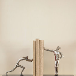 Blockhead Bookends - A whimsical display of strength exhibits impressive artistry in the Blockhead Bookends, a practical pair of human-figure studies with an expressive modeling technique that leaves a shadow of the sculptor's fingers in the elongated limbs.  Standing on black bases with a stately transitional approach, the realistic poses hold your favorite display volumes upright, incorporating them into a sculptural plan.
