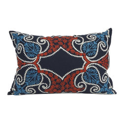 iMax - iMax Arte Pillow - The use of the vibrant blues and rust bring the Arte pillow to life.