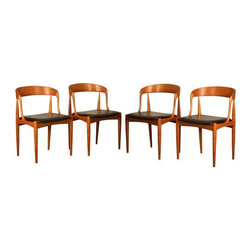 Pre-owned Johannes Andersen Model 16 Dining Chairs - S/4 - A set of four Johannes Andersen Model 16 dining chairs.     These chairs have a solid teak frame sculpted to look as though the chair is carved from a solid piece of wood.  The chairs have their original back leatherette upholstery.  These chairs were in very poor condition when Lume designers found them in a thrift store in Seaside, Oregon.  Only one chair was sturdy enough to sit in and it was held together by metal brackets.  The original upholstery was covered by a striped white and green fabric.  Lume took the chairs apart, removed the wood glue and brackets, and had new parts fabricated from teak for those too damaged for repair.  The frames, once securely back together, were sanded and refinished with teak oil.  The chairs are now beautiful examples of Danish Mid-Century art with minor flaws that give them the character any true vintage piece.     Note from seller: Please look at the close up photos for the imperfections, we tried to document any flaw beyond minor dings.  We filled some gouges with color-matched wood filler and one chair has a faded paint stain on the leatherette that may come out with the right product.  One chair has a gouge that we did not fill because it would be less noticeable left as is.     Item Details:  Materials: Teak wood; leatherette  Quantity:  4  Designer: Johannes Andersen (Denmark , 1903 - 1991 )    Design year: 1965  Maker: Uldum Mobelfabrik (Denmark)