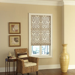 Blinds.com Brand Classic Roman Shades in Essence Smoke - Our Classic Roman shades give you the look of costly custom workroom shades at a price that will pleasantly surprise you! Classic Roman Shades offer many soft fabrics from cotton to 100% silk.