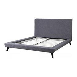 TOV Furniture - Nixon Platform Bed | Grey Linen, Full - Features: