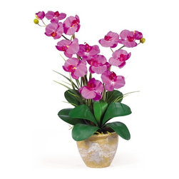"""Double Stem Phalaenopsis Silk Orchid Arrangement - This 25 inch double stem phalaenopsis silk orchid plant is nothing short of an explosion of color. Expertly arranged, this piece was designed to enhance any space. Each plant comes stacked with two amazing phalaenopsis stems each with 6 flowers and 2 buds. Finished with a gorgeous glazed ceramic vase this item is not to be missed. So whether you're looking for a gift or just want to perfect your decor..you're only one click away. Color: Orchid, Height: 25"""", Vase: H 5-1/2"""" W 7"""" Height= 25 in x Width= 15.5 in x Depth= 12 in"""