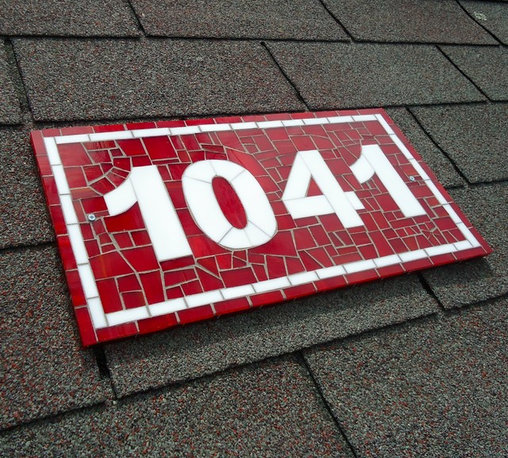 Mosaic House Numbers - ach tile is hand cut and individually placed to make a unique, personalized, one of a kind mosaic. The front and sides of this mosaic are covered in glass so that you see glistening mosaic from every angle.
