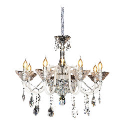 Royal Crystal LIghting - Royal Crystal Lighting Crystal Chandelier 8 Lights - Large diamond cut crystal pendants, with unique bling bling gemstone arms exclusively from Royal Crystal Lighting.