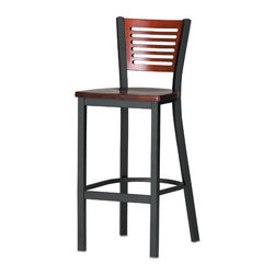 """Grand Rapids Chair - Melissa Anne Custom Back Barstool (24"""" - 36"""" Seats) (Set of 3) - A tremendous variety of back options lets you achieve a distinctive look for your Melissa Anne Cross Back Side Chair. Perfect for a cafe, restaurant, or office, this chair will look great wherever you decide to put it. Match it with a barstool for a complete set. All Grand Rapids chairs and barstools are highly customizable, so be sure to check out all the options listed. Please call if you dont see anything that meets your needs, because there's a good chance that Grand Rapids can make any product suit your preferences. Features: -Metal chairs are manufactured from high quality plating grade steel-significantly stronger than the industry standard. -Hand tailored, coped and brazed joints to maximize strength and prevent rust. -Oven-baked epoxy/polyester finish. -Two inches of HR (High Resilience) foam, considered the Cadillac of cushioning. -Made in the USA. -Constructed for commercial/restaurant usage. -Premium carpet glides. Custom Options: -Seat Height  If you need a specific height that is not listed be sure to call. -Upholstery  Grand Rapids carries many fabric options, if you do not see anything to your liking or have your own fabric, please call and one of our customer service representatives will assist you with your order. -Metal Finish  33 Different metal finishes to choose from. -Seat Type Options  There are 75 available options for seat types. -CAL 133  If you need any of Grand Rapids chairs to meet California bulletin 133 please call. Specifications: -CAL 117 Standard. -Dimensions: 32.5"""" H x 17"""" W x 19"""" D. -Seat Dimensions: 18"""" H x 17"""" W x 19"""" D."""