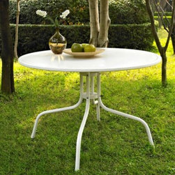 Crosley - Griffith Metal 40-Inch Side Table in White - Set down your glass of iced tea on this sturdy steel side table, designed to withstand the hottest of summer days and other harsh conditions.