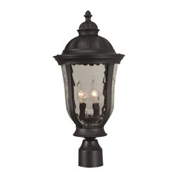 Exteriors - Exteriors Frances Traditional Outdoor Post Lantern Light X-29-5206Z - A European inspired dome roof with an elegant finial compliment the beautiful lantern shape of this Craftmade outdoor post lantern light. From the Frances Collection, it also features a dark Oiled Bronze finish that compliments the romantic nuances of the design. A hammered clear glass shade adds visual interest and texture to the design.