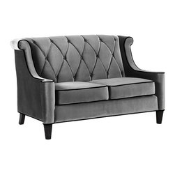 Armen Living - Modern Grey Velvet Loveseat - This modern loveseat has a solid frame with Caramel velvet upholstery with a button-tufted back in a diamond pattern,scooped arms and espresso wood legs. It offers firm,yet comfortable seating with webbing support and foam cushioning.