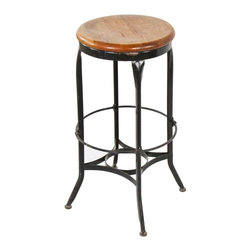 Industrial Stools - original and intact late 1930's vintage industrial four-legged pressed and folded steel toledo workbench stool with oversized footrest - toledo metal furniture co., toledo, oh.