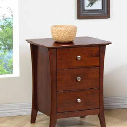 None - Vermont Chestnut Three-drawer Nightstand - This Vermont chestnut three-drawer nightstand features a sturdy rubberwood construction with clean, contemporary lines. The classic finish, paired with brushed-nickel metal drawer pulls, allows this piece to blend with many styles of decor.