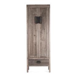 Kathy Kuo Home - Ming Reclaimed Oak Industrial Asian Inspired Tall Cabinet - Standing tall and impressive, this reclaimed wood cabinet has rustic charm with a touch of industrial flare. Weathered, reclaimed oak is as sturdy as it is gorgeous, with four ample shelves and a lower drawer. The artisan-crafted cabinet makes a handsome wardrobe, linen closet or armoire accenting any decor.