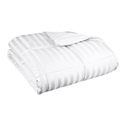 """Down Alternative Wide Stripe Twin/Twin XL Comforter - White - Keep warm this winter while not being weighed down in the summer with this All-Season Striped Down Alternative Comforter. Made of naturally hypoallergenic microfiber, this comforter feels like down and will help you drift off into a restful sleep. Dimensions: 68"""" x 90"""" - Fill Weight: 58 ounces."""
