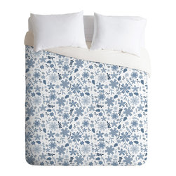 DENY Designs - Jennifer Denty Genevieve Florals Blue Big Duvet Cover - Turn your basic, boring down comforter into the super stylish focal point of your bedroom. Our Luxe Duvet is made from a heavy-weight luxurious woven polyester with a 50% cotton/50% polyester cream bottom. It also includes a hidden zipper with interior corner ties to secure your comforter. it's comfy, fade-resistant, and custom printed for each and every customer.