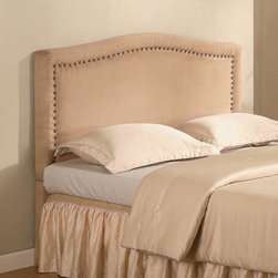Coaster - Transitional Tan Queen Sized Headboard - We have given the classic platform bed a glamorous makeover with this soft tan microfiber headboard that features a nailhead trim. Matching tan microfiber storage bench also available.