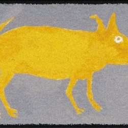 Home Infatuation - Yellow Pig Outdoor Area Rug, 3' X 4', Woven Backed - This indoor/outdoor area rug is derived from the imaginative series of original art work created by artist David Milliken. Elements from the paintings are extracted to create whimsical, humorous and abstract decorative solutions for both indoors and outside.