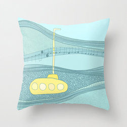 Yellow Submarine Pillow Cover - Hold this pillow close and enter a dreamland maritime fantasy. Featuring an iconic yellow submarine in a sea of green, this piece adds a pop of color to your throw pillow mashup on the sofa or bedroom.