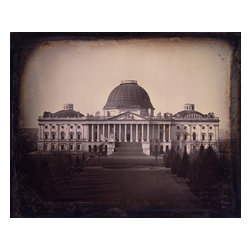 United States Capitol Building Print - John Plumbe took this architectural photograph of theUnited States Capitol Building in Washington DC in 1846.