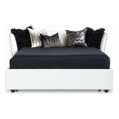Zuri Furniture - Vitali Leather Platform Bed - White, King - The Vitali modern bed is a romantic addition to your quiet sanctuary. Its sumptuous Italian leather headboard is complete with hand stitched detailing and contemporary curvature. Made in Italy, the Vitali is crafted to perfection and guaranteed to provide an exquisite look and feel in any modern bedroom. Available in red or white leather.