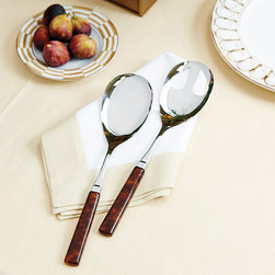 Ballard Designs - Bunny Williams 2-Piece Melange Serving Set - Dresses up or down with the occasion. Graciously sized. 18/10 stainless steel. Acrylic tortoise handles. Decorator and entertaining expert, Bunny Williams, designed her stylish Melange Flatware to be elegant enough for indoors and rugged enough for a picnic. Crafted by one of Italy's premier silverware manufacturers, this 2-Piece Set includes Spoon and Slotted Spoon.Bunny Williams Melange 2-Piece Serving Set features: . . . .