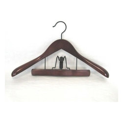 Proman - Taurus Suit Hanger with Trouser Clamp, Mahogany Finish - Taurus Suit Hanger with Trouser Clamp,, in Mahogany finish. Ideal to keep suits wrinkle free. 12 pcs per case,Thick at widest point on shoulder. Taurus contour suit hanger with trouser clamp with black hardware.