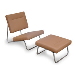 Cocoa Lounge & Ottoman Set - Invite your guests to take a load off with this charming mid-century modern-inspired chair and ottoman set.  Featuring a smooth tan seat and matching ottoman, the set provides a perfect spot to lounge and relax after a long day of work.