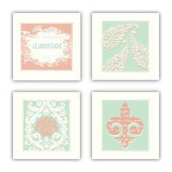 Studio D&K - Wall Art Arrangement in Peach, Coral, and Aqua Shades, Set of Four 14x14 Prints - Set of Four 14x14 Art Prints in Peach and Aqua.