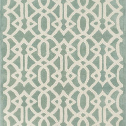 "Loloi Rugs - Loloi Rugs Brighton Collection - Mist, 7'-10"" x 11'-0"" - There are geometric rugs and then there is the striking Brighton Collection, which sets a new standard for geometric style. Hand-tufted in India, 100% wool yarns are hand-dipped into rich dye lots, producing lively colors that pair fabulously with its playful patterns. Brighton also combines a cut and loop pile, creating a mix of heights and textures for added visual interest. Available in 12 playful designs."