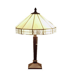 Warehouse of Tiffany - Tiffany-style Mission-style White Table Lamp - Illuminate a bedroom, living room, or office with this beautiful Tiffany style table lamp. Handcrafted by artisans trained in L.C. Tiffanys methods, this lamp offers a soft glow and features two pull chains. A heavy base provides stability.