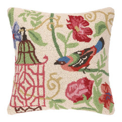 "Bird Marinella Hooked Pillow  - Cream, Reds, Greens & Blue 16 X 16"" - Brighten up any decor with this pretty bird Marinella hooked pillow"