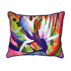 Betsy Drake - Bird Of Paradise Flower Large Outdoor Pillow - Use outdoors or indoors.  colorful and bright.  Great accent for sofas, chairs and patio furniture.  Fade resistant, tough and durable.  Spot clean or machine wash.