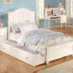 Acme Furniture - Zoe White Pink Striped Twin Bed with Trundle - 11035T - Zoe Collection Twin Bed with Trundle