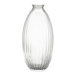 Dynasty Gallery - Handmade Glass-Ribbed Vase - Sculptures in and of themselves, these mouth-blown, glass-ribbed vases function as exquisite accent pieces, with or without garnish. Impressively sized and hand made in Poland, these ribbed vases elevate the decor of the room they grace.